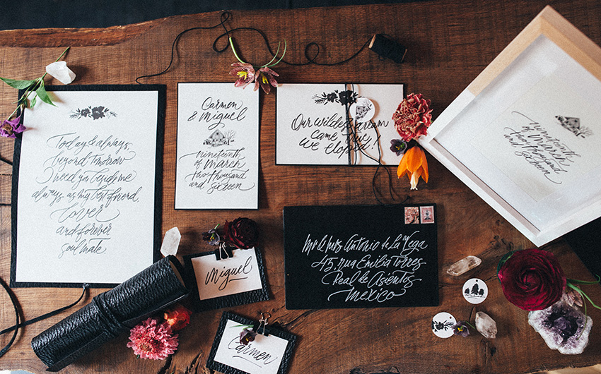Folk stationery & calligraphy by http://www.antescriptum.com • Photo: Maxime Degée, http://www.mdphoto.be • Decor & flowers by http://www.wildflowerfairy.com • Elopement session to see on http://www.andisaidyes.com